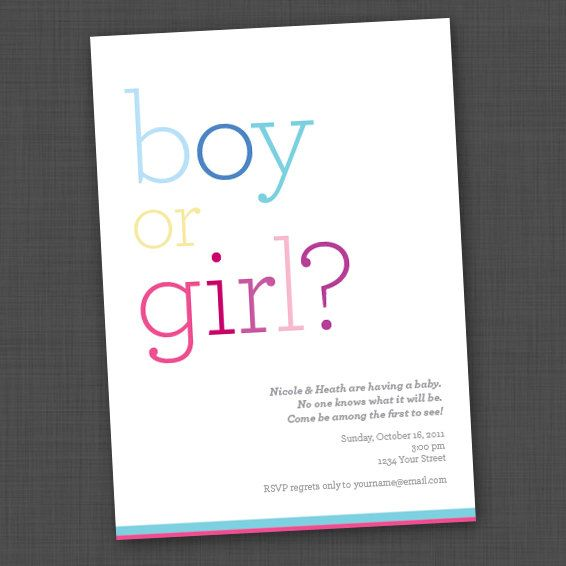 Simple Gender Reveal Party Invite