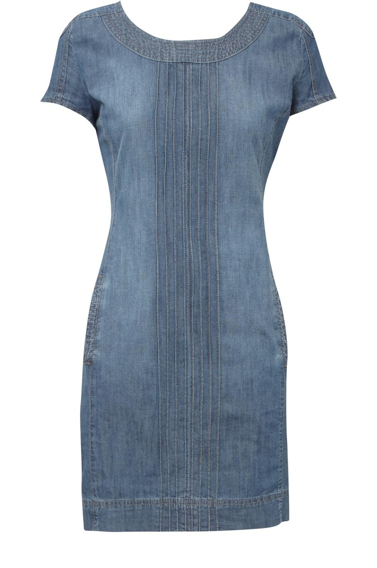 Oasis Denim Dress - making this dress from a 3X mens tshirt, add blue lace trim to neck and sleeves