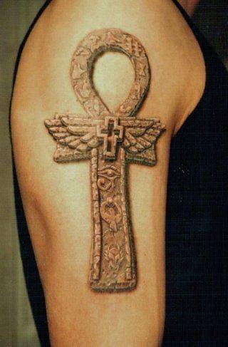 Египетская татуировка оберег анкх на предплечье для мужчины