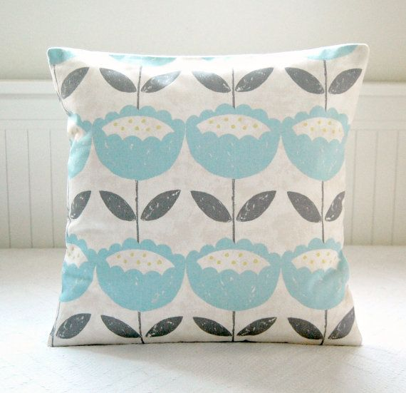 Powder Blue Decorative Pillows : Cushion cover baby powder blue, grey leaves, retro flowers ,16 inch decorative pillow cover ...
