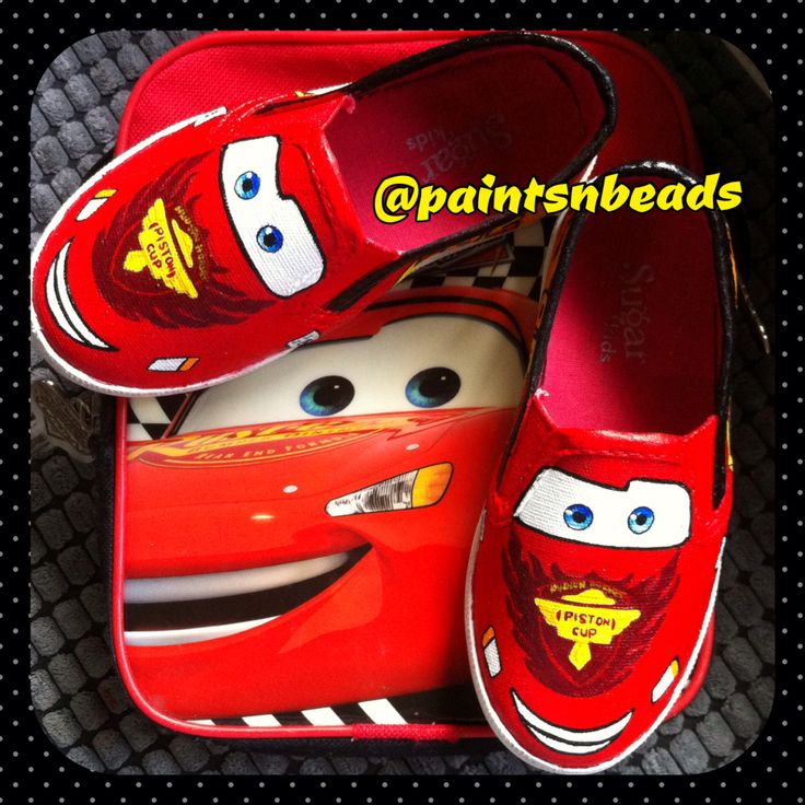 Lightning mcqueen! Decorated shoes, Painted shoes