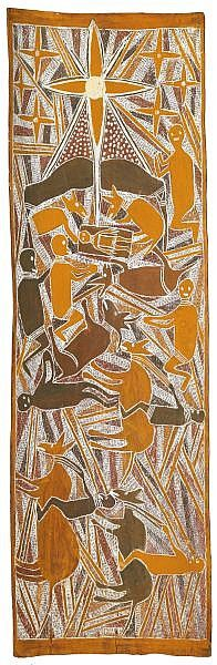 MAWALAN MARIKA , CIRCA 1908-1967 NATIVITY SCENE Natural earth pigments on eucalyptus bark