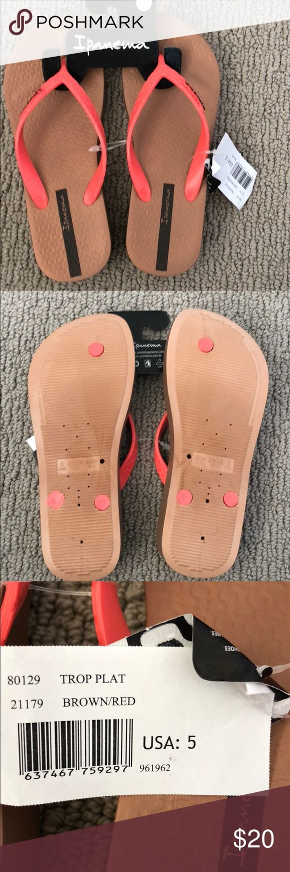 women's Ipanema brown/orange flip-flops size 5 Brand new women's Ipanema brown/orange flip-flops size 5 Has an approximately 1 inch soul Brand new with tags Ipanema Shoes Sandals
