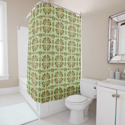 Queen Hearts Gold Crown Tiara Mint Green Shower Curtain - gold gifts golden customize diy
