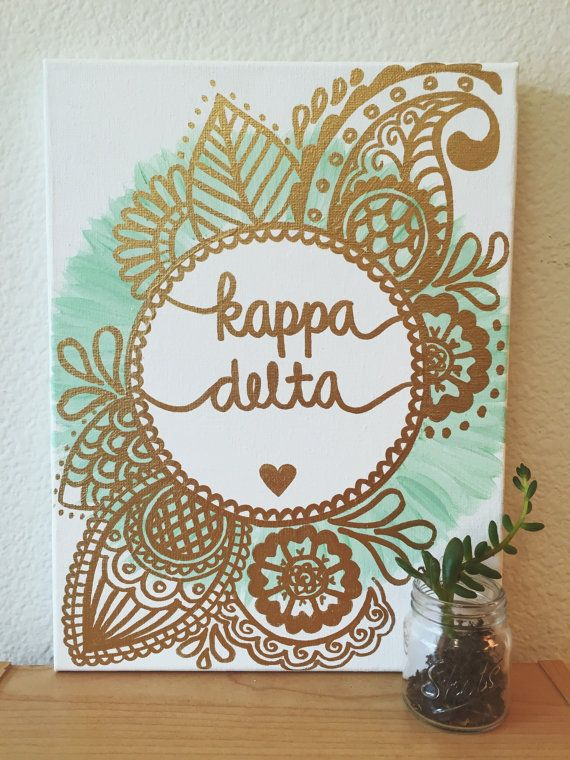 ANY SORORITY Custom Canvas  Gold & Spearmint by CaliCanvas on Etsy