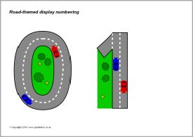 Road-themed display numbering (SB10938) - SparkleBox