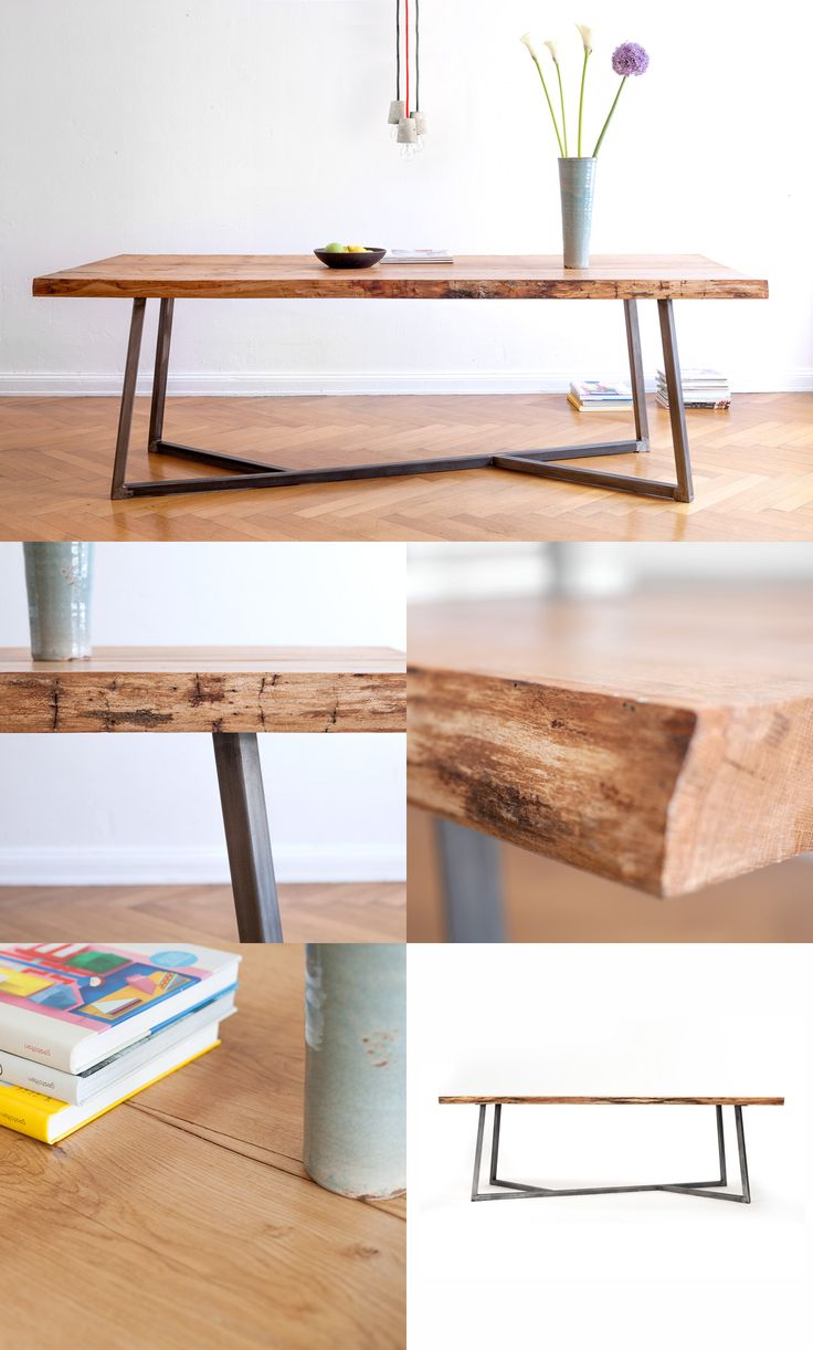Favorite table legs of all time || NUTSANDWOODS – Oak Steel Table: Built for eternity. Solid oak wood. Steel base. Dining table, live edge slab