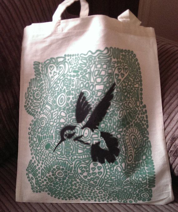 Re-useable Shopping Bag with Hummingbird Motif Black/Green 2 strap Tote Bag