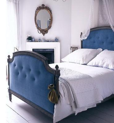 bold blue: Blue Velvet, Decor, Headboards, Colors, Blue Bedrooms, White Bedrooms, Blue Beds, Beds Frames, Guest Rooms
