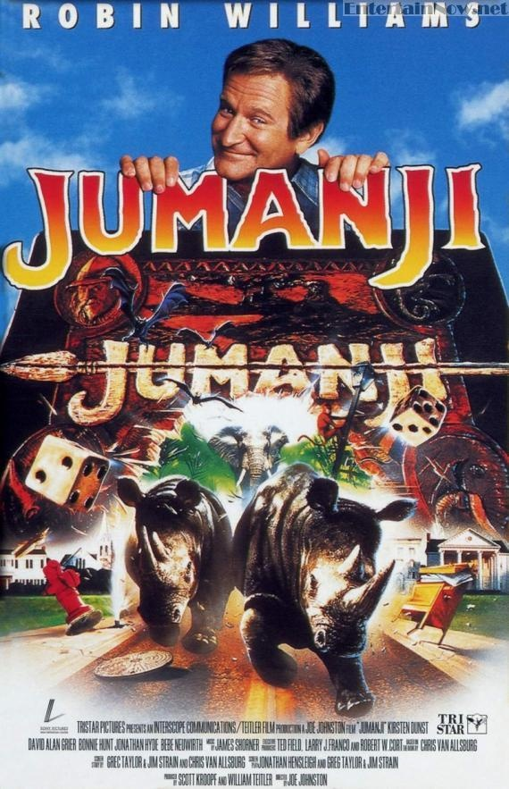 Jumanji (1995) Robin Williams, Bonnie Hunt, Kirsten Dunst, Bradley Pierce, Bebe Newirth... A magic board-game brings forth African perils and a guy (Robin Williams) who disappeared in 1959 while playing it.