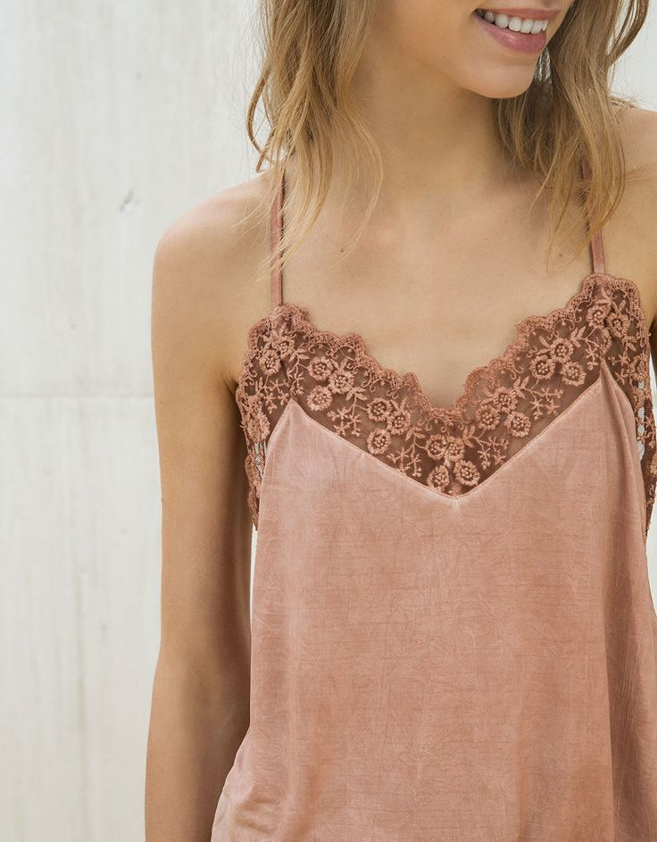 Embroidered tulle lingerie top - Shirts - Bershka Belgium