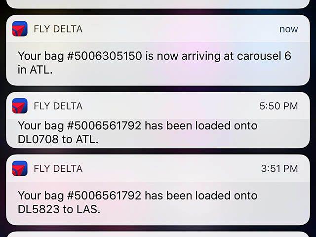 Delta Air Lines et le suivi des bagages sur mobile
