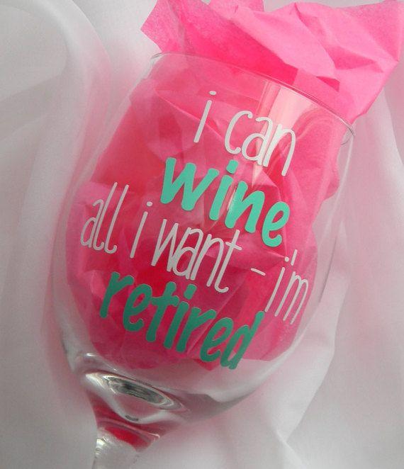 Retirement Gift Retirement Wine Glass Retirement by PrettyProposal