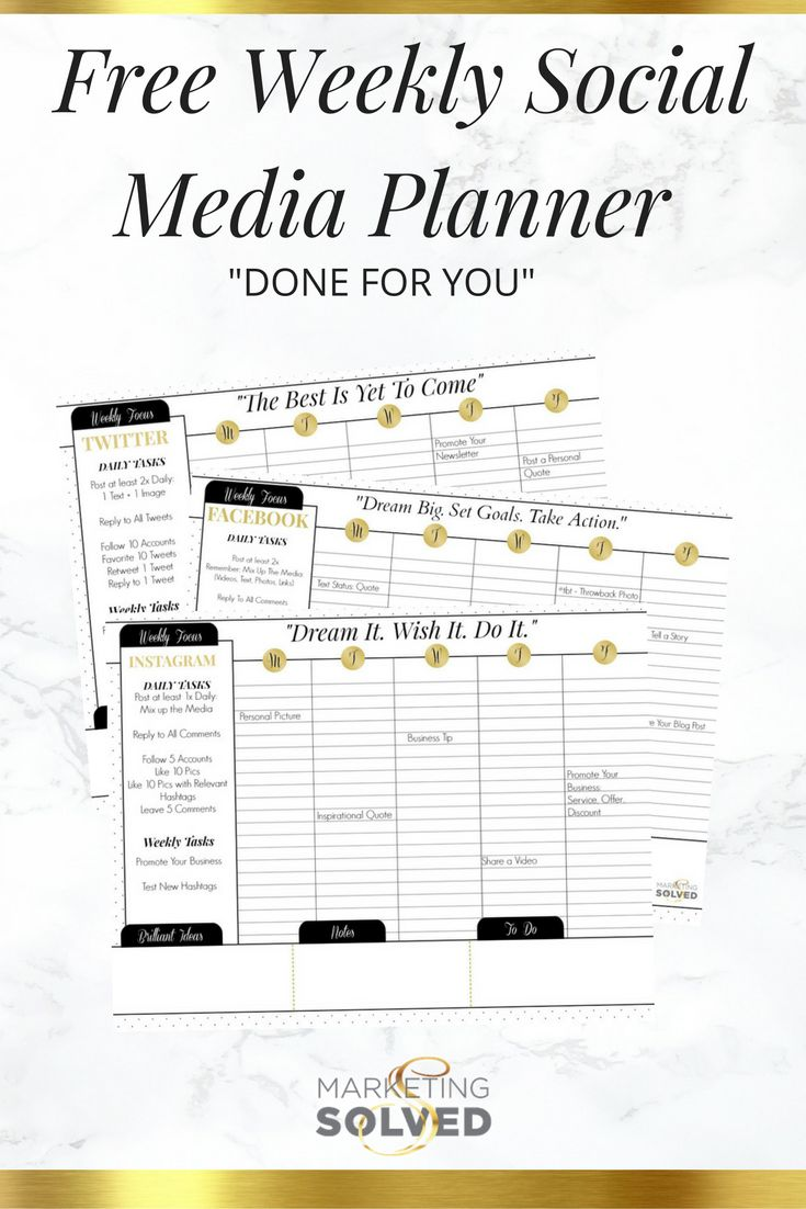 Free Weekly Social Media Planners (Done For You)! Social Media planning can be a HUGE timesaver for your business. If you've ever felt overwhelmed by social media, not knowing what to post, when to po