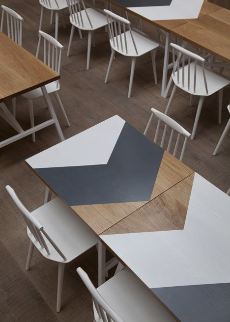 chevron printed table  one way to spruce up ikea table top. Maybe just paint the white chevron / arrow shape in chalkboard black on the far left side