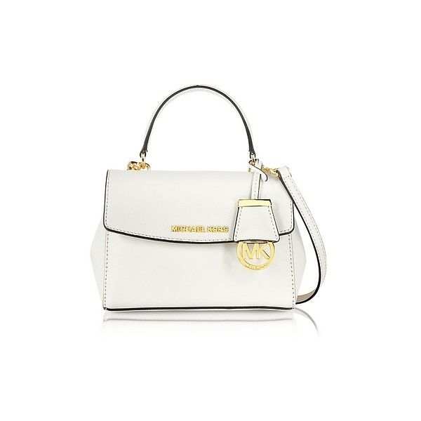 Michael Kors Handbags Ava Extra Small Saffiano Leather Crossbody Bag ($205) ❤ liked on Polyvore featuring bags, handbags, shoulder bags, optic white, white shoulder handbags, crossbody handbags, hand bags, michael kors purses and handbag purse