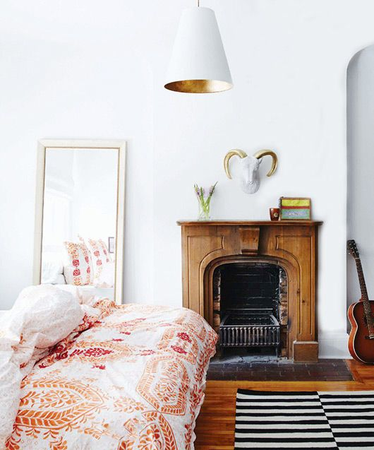 love the duvet with the rug. ok, and the fireplace. and the pendant... // #bedroom #styling