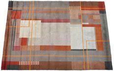 """K.V.T. Koninklijke Vereenigde Tapijtfabrieken - Modernistisch vloerkleed in """"De Stijl"""" of Bauhaus stijl"""