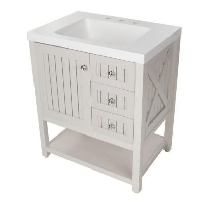 Martha Stewart Living Seal Harbor 30 in. Vanity in Sharkey Gray with Vanity Top in White-SL30P2COM-SG - The Home Depot