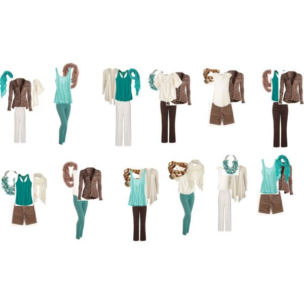 """""""The Outfits Teal Brown and Cream Wardrobe Capsule"""" by bec-robbie on Polyvore"""