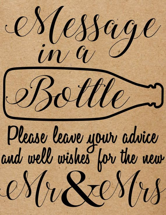 INSTANT DOWNLOAD Message In A Bottle Sign, Rustic, Country, Wedding, Message In…