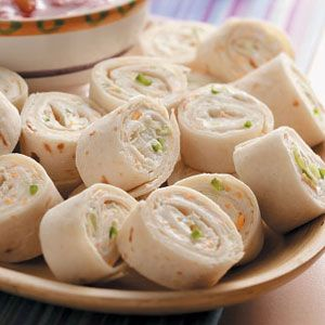 Tortilla Roll-Up Appetizers Recipes from Taste of Home, including Cheesy Onion Roll-Ups Recipe