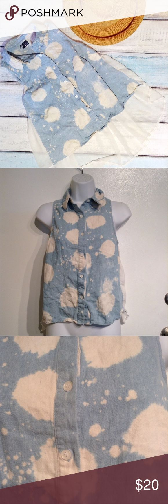"""URBAN OUTFITTERS Bleach Wash Denim & Tulle Top Sparkle & Fade from Urban Outfitters. Bleach washed denim chambray button up front with Flowy chiffon back. Has two small pin marks shown in 3rd photo. Collared. Size XS. Measures 15.5"""" flat from armpit to armpit. No modeling. Smoke free home. I do discount bundles. Urban Outfitters Tops"""