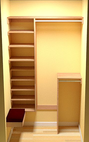 Free woodworking plans for a deep coat closet. Includes ample shoe storage and a bench seat.     I was getting ready to order the lumber ...