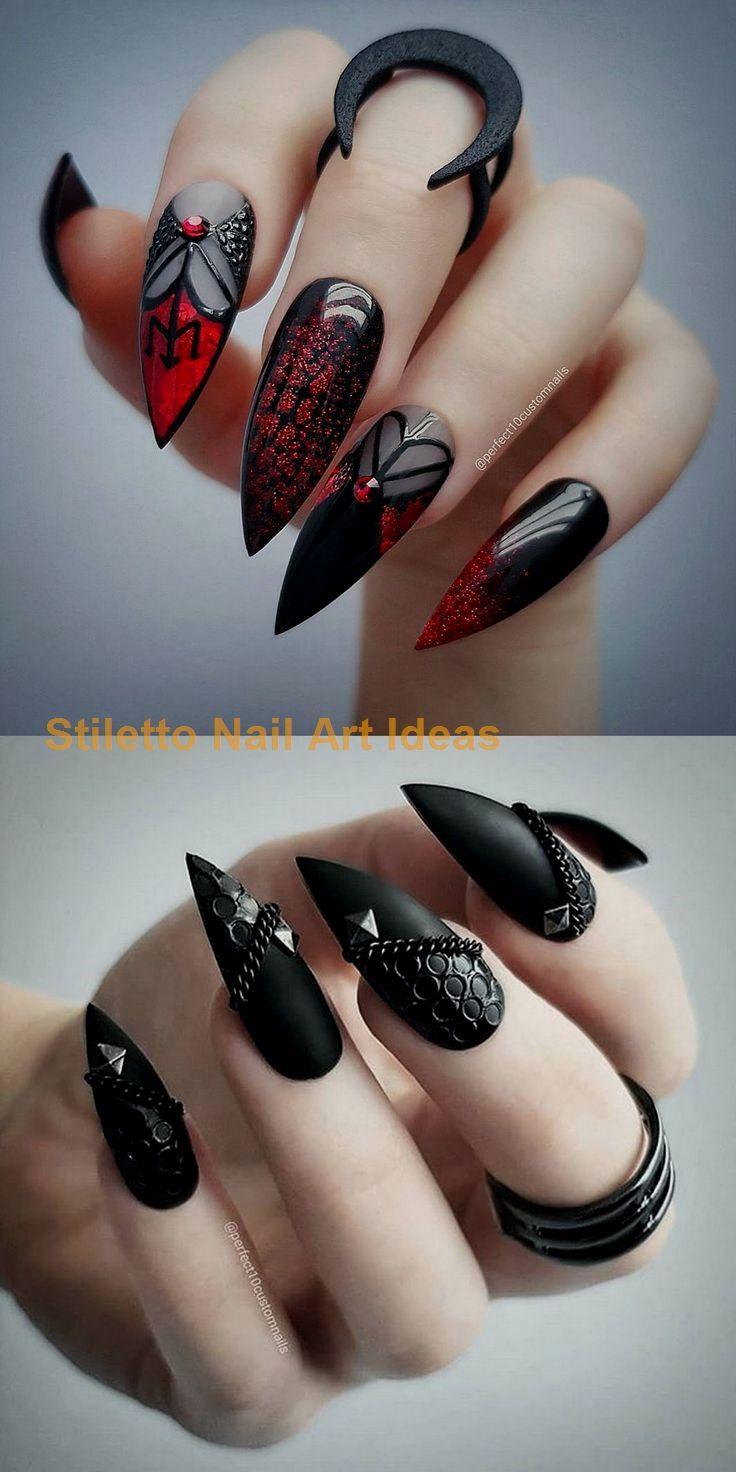 22 böse lange schwarze Nägel, die coole Mädchen haben sollten … – Stiletto Style Nails