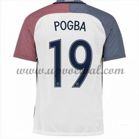 Goedkope Voetbalshirts Frankrijk Elftal Tenue 2016 Paul Pogba 19 Korte Mouw Uitshirt