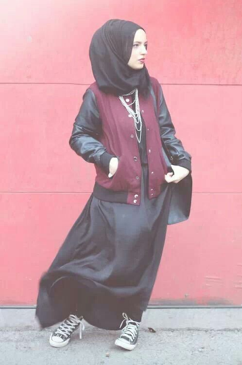 For the Muslimah on the go! Definitely trying the black maxi with sneakers and varsity thing!