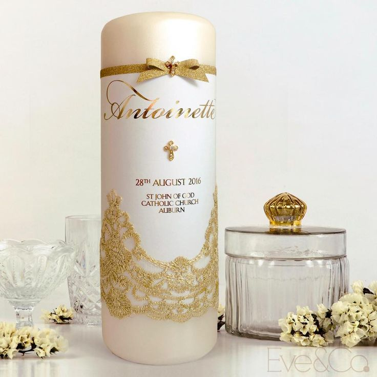Our new matte candle wraps with full gold foil text coverage give that perfect balance of sheen and shine ✨ Loving this beautiful baptism candle created for baby Antoinette with vintage gold lace and a sparkling glitter ribbon accent