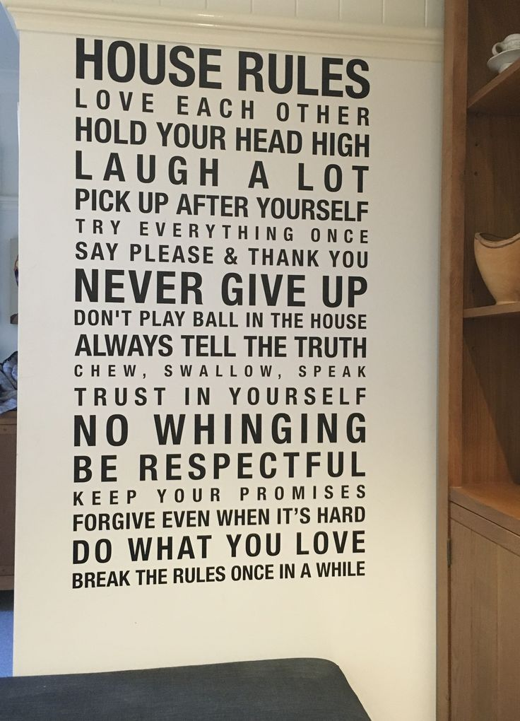 Love our house rules! Kids quote them at me all the time, especially the last one. Decal #homereno #kitchen #family