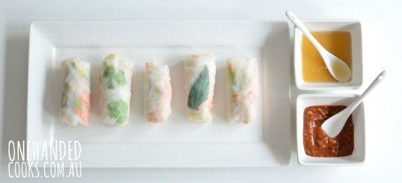 PICK N MIX RICE PAPER ROLLS WITH TWO DIPPING SAUCES:  Fresh, healthy and tasty, our rice paper rolls are a lovely lunch or an easy dinner packed full of fresh vegetables and herbs.  It's fun to get the kids involved too.  They will love choosing what they want in their rolls. #onehandedcooks