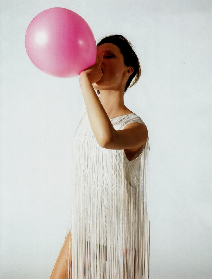 .: Pink Balloon, Fashion That Inspiration, Parties Balloon, Parties Dresses, Bubbles Gum, Balloon Girls, Fringes Dresses, Fringes Tops, Fashion Style Trends