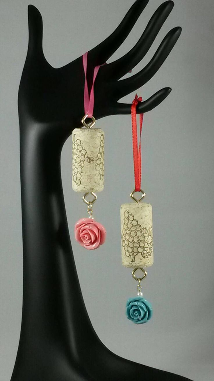 rose wine cork ornaments set of 2 by on etsy https