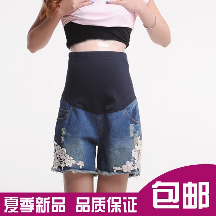 Сделать материнства летняя мода беременных женщин беременных женщин беременные женщины шорты джинсовые шорты брюки кружева живота брюки