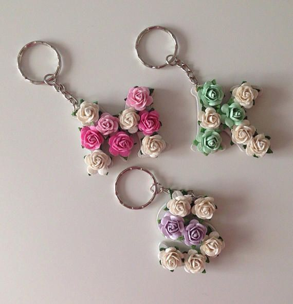 Custom Floral Letter Keyring Keychain Handbag Charm