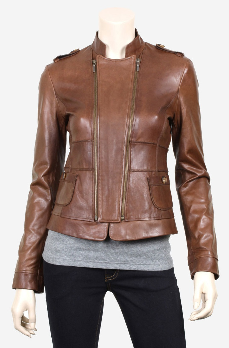 handmade women Brown leather Jacket, women Brown Leather Jacket classic zip up closure, leather jacket for women. $139.99, via Etsy.