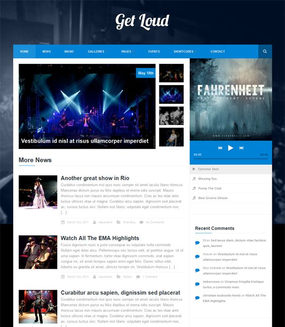 This music WordPress theme comes with SEO optimization, a responsive layout, unlimited colors, multi-language support, Google Web Fonts, HTML5 audio support, an Ajax contact form, galleries, shortcodes, and more.