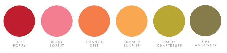 March 2017 - Pure Poppy, Berry Sorbet, Orange Zest, Summer Sunrise, Simply Chartreuse, Ripe Avocado (Heather Nichols)