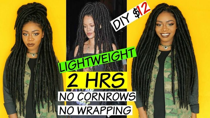 Rihanna Hippie Faux Locs - Lightweight Version - NO WRAPPING - no cornrows - $12 DIY Thick Dreads [Video] - https://blackhairinformation.com/video-gallery/rihanna-hippie-faux-locs-lightweight-version-no-wrapping-no-cornrows-12-diy-thick-dreads-video/