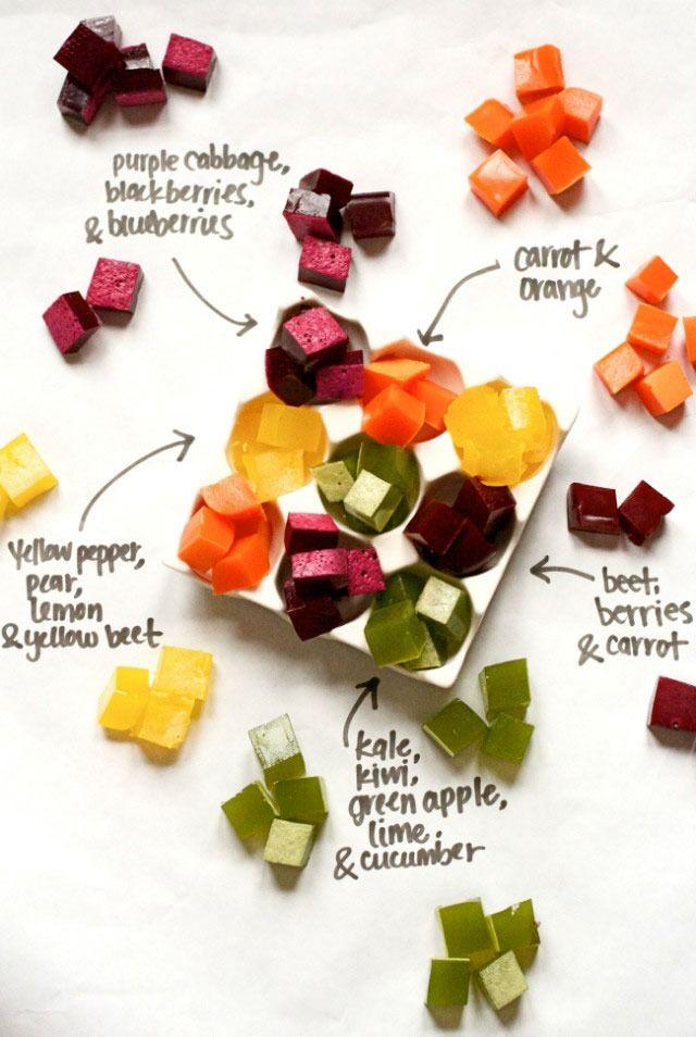 Homemade fruit and veggie gummy snacks (via http://www.modernparentsmessykids.com/2014/04/rainbow-healthy-homemade-gummy-snacks.html)
