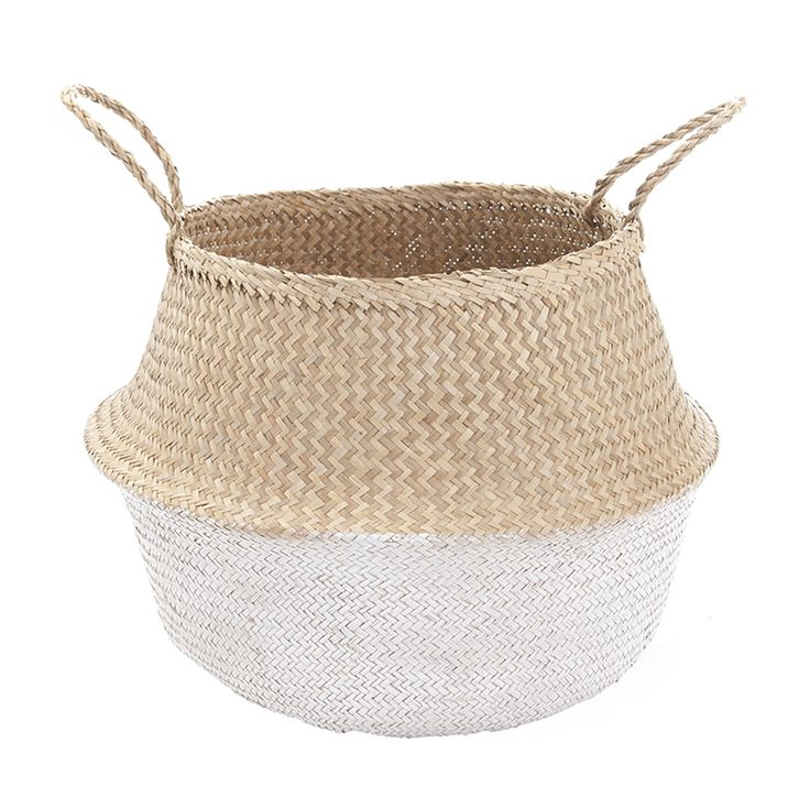 White Dipped Belly Basket-L