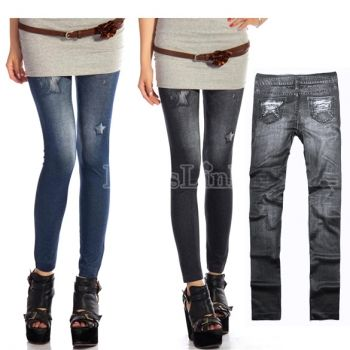$2.30 Bolsillos falsos Women\'s Jeggings Stretch Skinny Leggings Tights Pencil Pants Casual Jeans