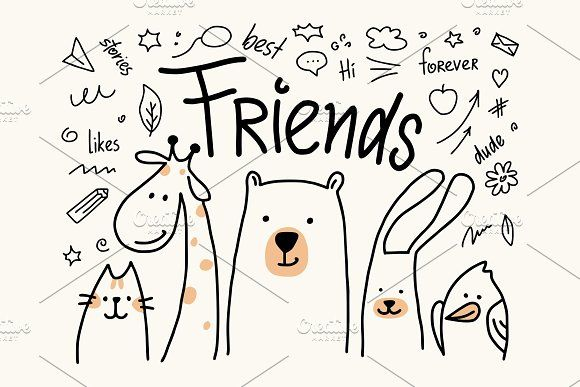 Five Animals Friends In Vector Animals Friends Cartoon Drawings Of Animals Cute Friends