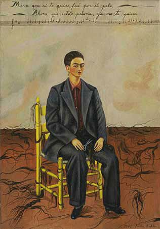 Frida Kahlo Self-Portrait with cropped hair. Expressing how she felt when she found out her husband was having an affair