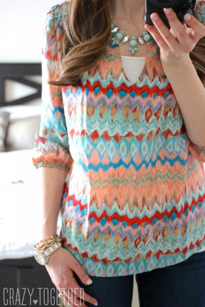 Gazele Abstract Print Silk Blouse from Amour Vert - Stitch Fix February 2015 Review #stitchfix