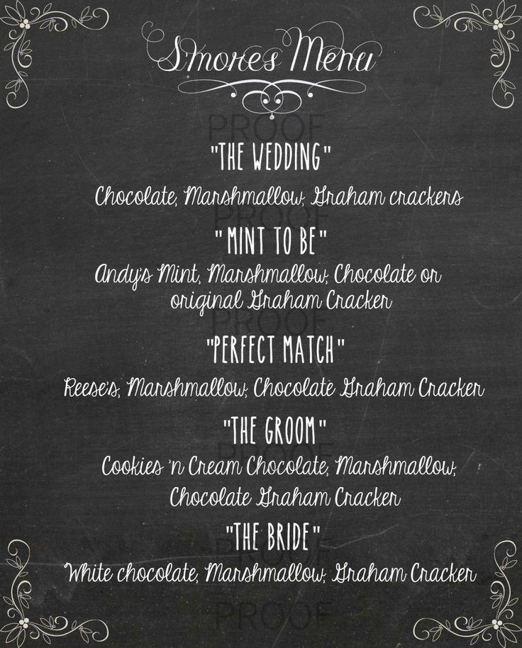 ... Printable- Chalkboard S'mores menu- Pdf Menu Printable- Wedding