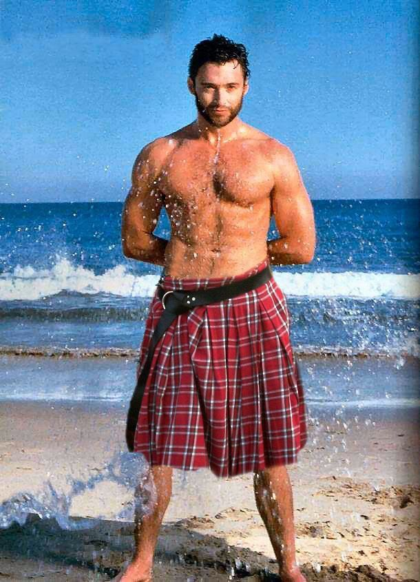 hugh jackman, kilt, sexy men in kilts, man candy monday, nice legs, eye candy, flirt, entertainment,